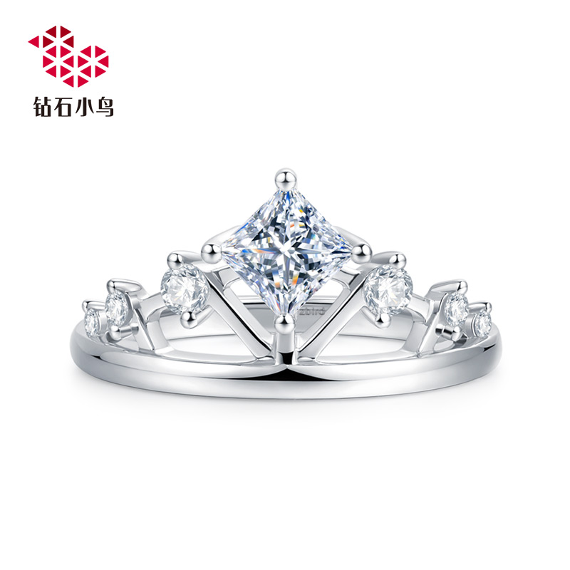 Zbird/万博ios下载小鸟18K公主方万博ios下载戒指-珍冠-求婚结婚铂金钻戒女款