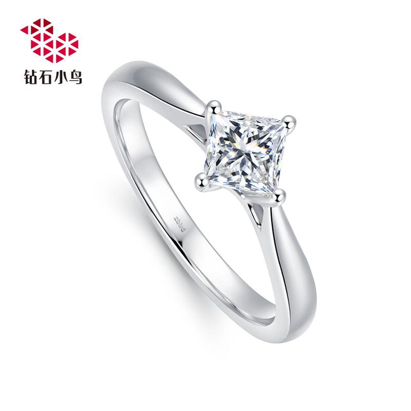 Zbird/万博ios下载小鸟18K公主方万博ios下载戒指-圣枝-求婚结婚铂金钻戒女款